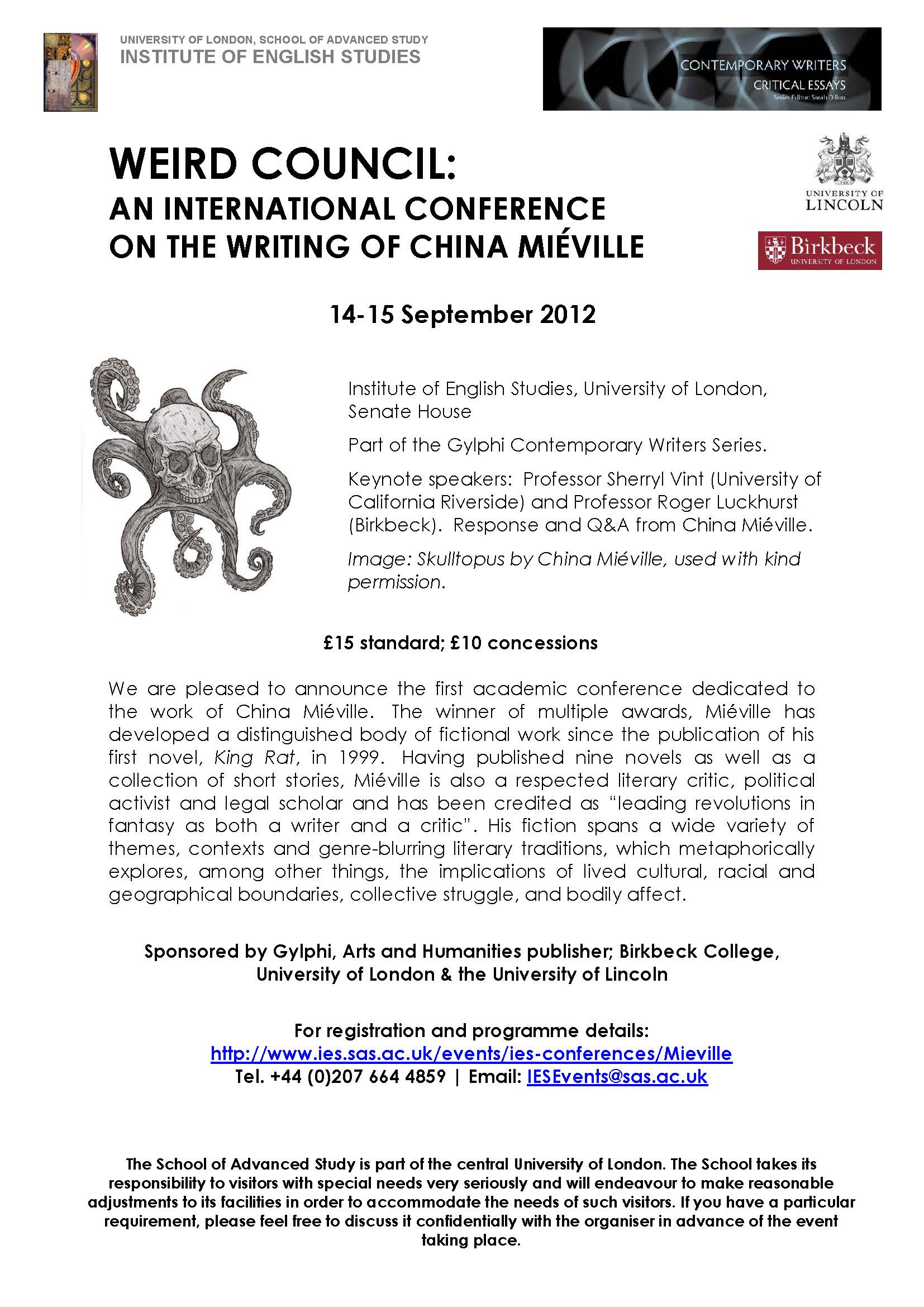 Weird Council: An international conference on the writing of China Miéville